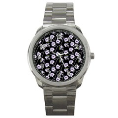 Floral Pattern Black Purple Sport Metal Watch by goodart