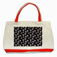 Floral Pattern Black Purple Classic Tote Bag (red)