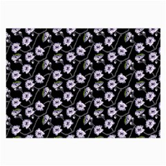 Floral Pattern Black Purple Large Glasses Cloth (2 Side)