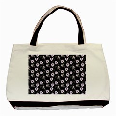 Floral Pattern Black Purple Basic Tote Bag (two Sides)