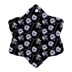 Floral Pattern Black Purple Ornament (snowflake)