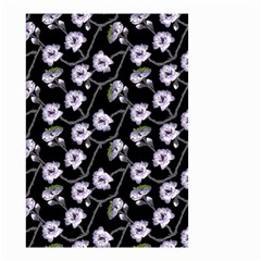 Floral Pattern Black Purple Small Garden Flag (two Sides)