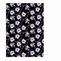 Floral Pattern Black Purple Large Garden Flag (two Sides)