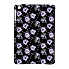 Floral Pattern Black Purple Apple Ipad Mini Hardshell Case (compatible With Smart Cover)