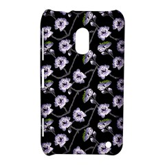 Floral Pattern Black Purple Nokia Lumia 620