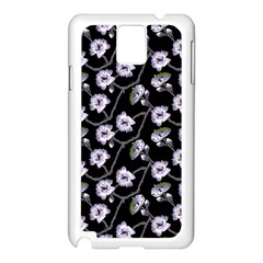 Floral Pattern Black Purple Samsung Galaxy Note 3 N9005 Case (white)