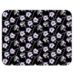 Floral Pattern Black Purple Double Sided Flano Blanket (medium)