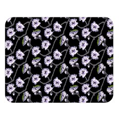 Floral Pattern Black Purple Double Sided Flano Blanket (large)