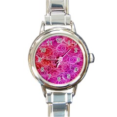 Floral Pattern Pink Flowers Round Italian Charm Watch