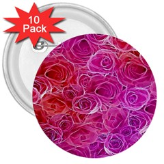 Floral Pattern Pink Flowers 3  Buttons (10 Pack)