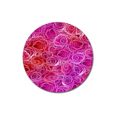 Floral Pattern Pink Flowers Magnet 3  (round)