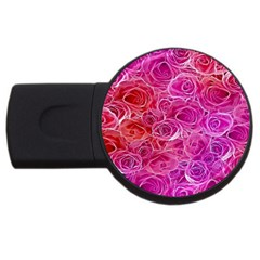 Floral Pattern Pink Flowers Usb Flash Drive Round (4 Gb)