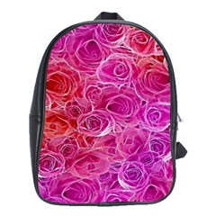 Floral Pattern Pink Flowers School Bag (large)