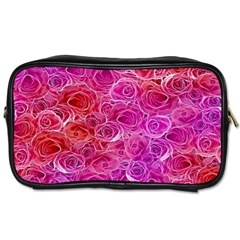 Floral Pattern Pink Flowers Toiletries Bags 2 Side