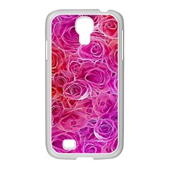 Floral Pattern Pink Flowers Samsung Galaxy S4 I9500/ I9505 Case (white)