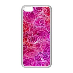 Floral Pattern Pink Flowers Apple Iphone 5c Seamless Case (white)