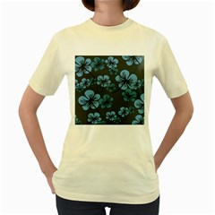 Blue Flower Pattern Young Blue Black Women s Yellow T Shirt