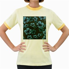 Blue Flower Pattern Young Blue Black Women s Fitted Ringer T Shirts