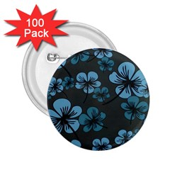Blue Flower Pattern Young Blue Black 2 25  Buttons (100 Pack)