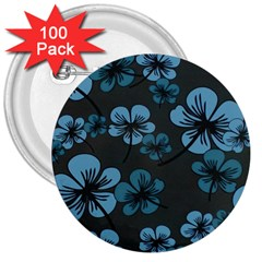 Blue Flower Pattern Young Blue Black 3  Buttons (100 Pack)