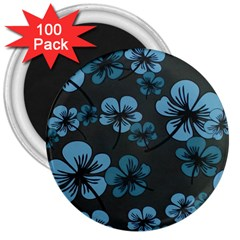 Blue Flower Pattern Young Blue Black 3  Magnets (100 Pack)