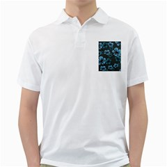 Blue Flower Pattern Young Blue Black Golf Shirts
