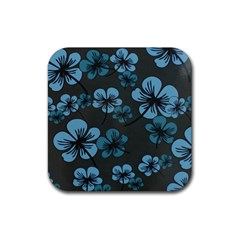 Blue Flower Pattern Young Blue Black Rubber Coaster (square)