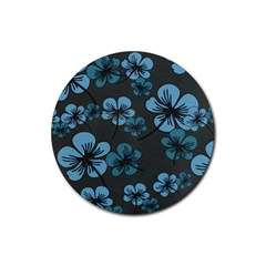 Blue Flower Pattern Young Blue Black Rubber Coaster (round)
