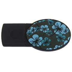 Blue Flower Pattern Young Blue Black Usb Flash Drive Oval (4 Gb)