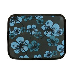 Blue Flower Pattern Young Blue Black Netbook Case (small)
