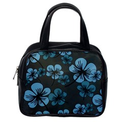 Blue Flower Pattern Young Blue Black Classic Handbags (one Side)