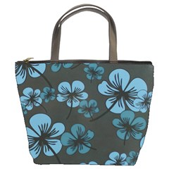 Blue Flower Pattern Young Blue Black Bucket Bags