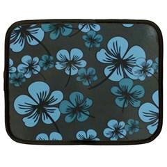 Blue Flower Pattern Young Blue Black Netbook Case (xxl)