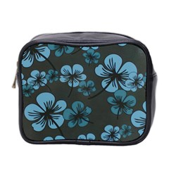 Blue Flower Pattern Young Blue Black Mini Toiletries Bag 2 Side