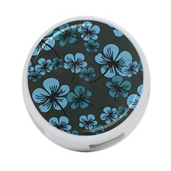 Blue Flower Pattern Young Blue Black 4 Port Usb Hub (two Sides)