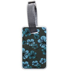 Blue Flower Pattern Young Blue Black Luggage Tags (two Sides)