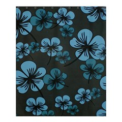 Blue Flower Pattern Young Blue Black Shower Curtain 60  X 72  (medium)