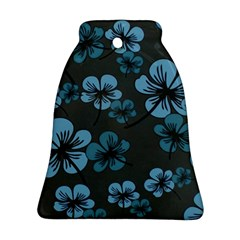 Blue Flower Pattern Young Blue Black Bell Ornament (two Sides)