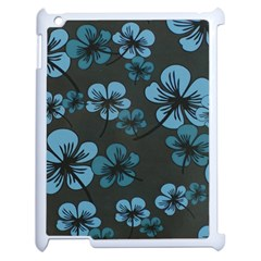 Blue Flower Pattern Young Blue Black Apple Ipad 2 Case (white)