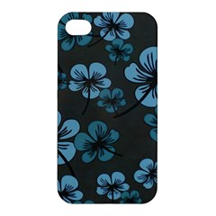 Blue Flower Pattern Young Blue Black Apple Iphone 4/4s Hardshell Case