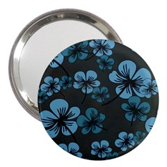 Blue Flower Pattern Young Blue Black 3  Handbag Mirrors