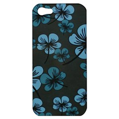 Blue Flower Pattern Young Blue Black Apple Iphone 5 Hardshell Case