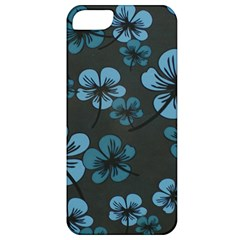 Blue Flower Pattern Young Blue Black Apple Iphone 5 Classic Hardshell Case