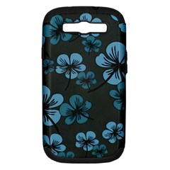 Blue Flower Pattern Young Blue Black Samsung Galaxy S Iii Hardshell Case (pc+silicone)