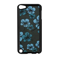 Blue Flower Pattern Young Blue Black Apple Ipod Touch 5 Case (black)