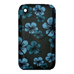 Blue Flower Pattern Young Blue Black Iphone 3s/3gs