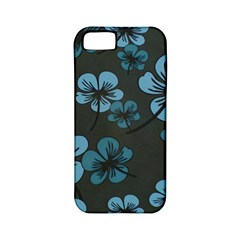 Blue Flower Pattern Young Blue Black Apple Iphone 5 Classic Hardshell Case (pc+silicone)