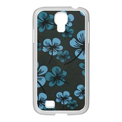 Blue Flower Pattern Young Blue Black Samsung Galaxy S4 I9500/ I9505 Case (white)