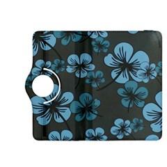 Blue Flower Pattern Young Blue Black Kindle Fire Hdx 8 9  Flip 360 Case