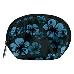 Blue Flower Pattern Young Blue Black Accessory Pouches (medium)